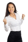 Successful Asian Woman cheering Royalty Free Stock Photo