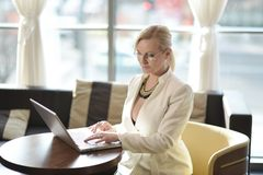 Successful and atractive middle aged businesswoman working Stock Photos