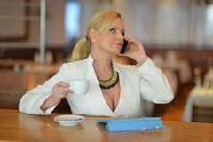 Successful and atractive middle aged woman chatting on the phone. During her lunch break Royalty Free Stock Photography