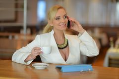 Successful and atractive middle aged woman chatting on the phone. During her lunch break Royalty Free Stock Photo