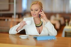 Successful and atractive middle aged woman chatting on the phone. During her lunch break Royalty Free Stock Image
