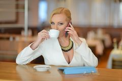 Successful and atractive middle aged woman chatting on the phone Royalty Free Stock Image