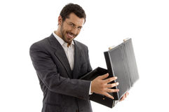 Successful attorney smiling and opening his bag Stock Photos