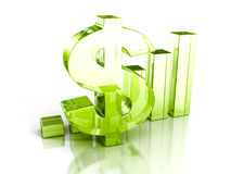 Successful Bar Chart With Green Glass Dollar Symbol Royalty Free Stock Images