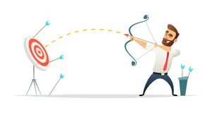 Successful beard businessman character shoots or aiming at the target. Business concept illustration.  Royalty Free Stock Images