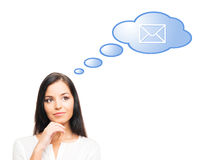 A successful and beautifu woman with mail Royalty Free Stock Image