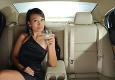 Successful Beautiful Asian Woman Sitting In A Car Royalty Free Stock Photo
