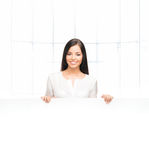 A successful and beautiful business woman with a banner Stock Image