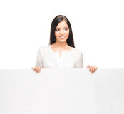 A successful and beautiful business woman with a banner Royalty Free Stock Image