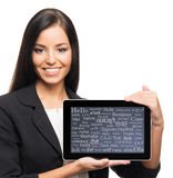 Successful and beautiful businesswoman with a tablet on white Royalty Free Stock Image