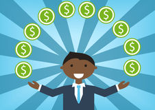 Successful black business man handling money and budget. Stock Photo