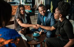 Free Successful Black South African Businesswoman Interview Applicant Shaking Hands With Human Resources Manager Stock Photography - 185527902