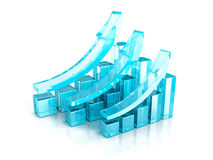 Successful blue business graphs rising up grow arrows. 3d render illustration Royalty Free Stock Photos