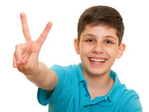 Successful boy in blue shirt Royalty Free Stock Images