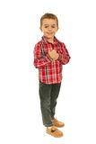 Successful boy giving thumb up Royalty Free Stock Photography