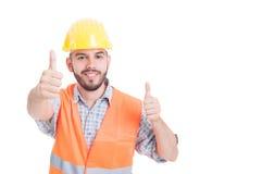 Successful builder or engineer showing like gesture Stock Image