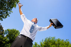 Successful busienssman carrying briefcase against sky. Low angle view of successful busienssman carrying briefcase against blue sky Royalty Free Stock Image