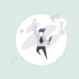 Successful Busines Man With New Idea Light Bulb Thin Line Royalty Free Stock Photos