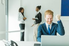 Successful businesman being happy for achieving his goals Stock Photography