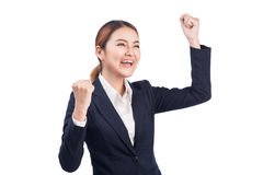 Successful business asian woman with arms up on white background Royalty Free Stock Photos
