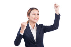Successful business asian woman with arms up on white background Royalty Free Stock Image