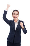 Successful business asian woman with arms up on white background Royalty Free Stock Photo