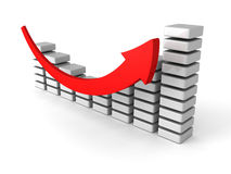 Successful business bar graph diagram with rising up arrow stock photography