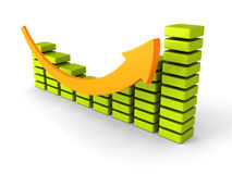 Successful business bar graph diagram with rising up arrow. 3d render illustration Royalty Free Stock Image