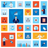 Successful business businessman people icon set Modern flat design Stock Image