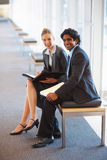 Successful business colleagues smiling together Royalty Free Stock Photo