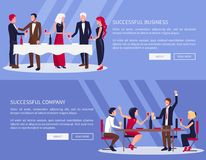 Successful Business, Company Vector Illustration. Successful business and company, web sites set, people drinking and eating in banquet and saying toasts, text Royalty Free Stock Images
