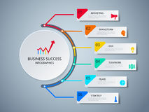 Successful business concept circle infographic template. Infographics with icons and elements. Can be used for workflow layout, diagram web design Stock Images