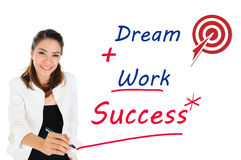 Successful of business concept by dream and work. Businesswoman writing success concept by dream and work Stock Image