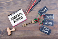 Successful Business concept. The key to success on a wooden office desk Stock Image