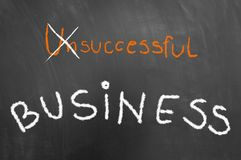 Successful business concept with text on chalkboard or blackboard. royalty free stock photography