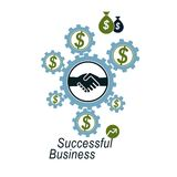 Successful Business creative logo, handshake agreement sign, vec Stock Image