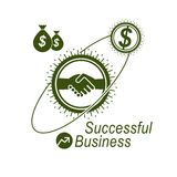 Successful Business creative logo, handshake agreement sign, vec Stock Photos