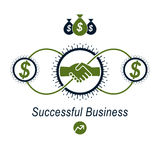 Successful Business creative logo, handshake agreement sign, vec. Tor conceptual symbol isolated on white background. Special and unique sign Royalty Free Stock Photos