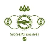 Successful Business creative logo, handshake agreement sign,. Vector conceptual symbol isolated on white background. Special and unique sign Royalty Free Stock Image