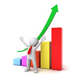 Successful business 3d man standing with arms wide open in front of growth business graph Royalty Free Stock Photo