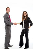Successful business deal concluded. Two stylish business executives stand shaking hands at the conclusion of a successful business deal Royalty Free Stock Photo