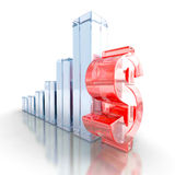 Successful business dollar bar Glass graph diagram. 3d render illustration Royalty Free Stock Photography