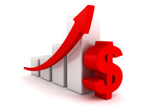 Successful business dollar bar graph rising arrow Royalty Free Stock Photography
