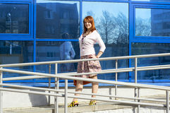 Successful business girl outside the building Stock Photo