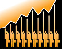 Successful business graph. A bar graph with unique businessmen icons carrying briefcases, showing a rising growth trend Stock Photo