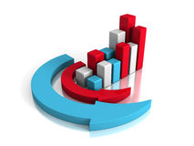 Successful Business Graph With Arrows Around. Concept 3d Render Illustration Stock Photography