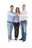 Successful business group doing thumb up Stock Photos