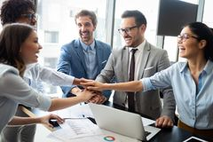 Successful business group of people at work in office stock images