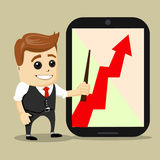 Successful business growth chart. Cartoon Vector Illustration.  man with red arrow growing . Successful business growth chart. Cartoon Vector Illustration Royalty Free Stock Image