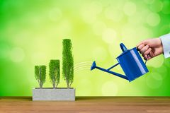 Successful business growth concept. Businessman is watering graph, symbol of business growth stock illustration